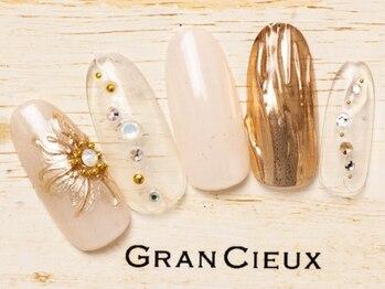 グランシュクアトロ 千葉店(GranCieux × QUATRO)/ゴージャスな花柄×ミラーネイル