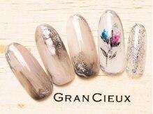 グランシュクアトロ 千葉店(GranCieux × QUATRO)/手書きフラワーニュアンスネイル