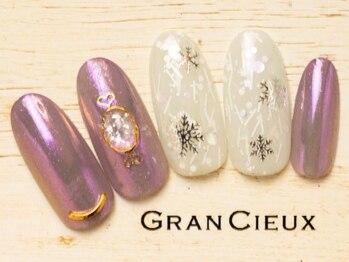 グランシュクアトロ 千葉店(GranCieux × QUATRO)/雪の結晶×ピンクミラーネイル