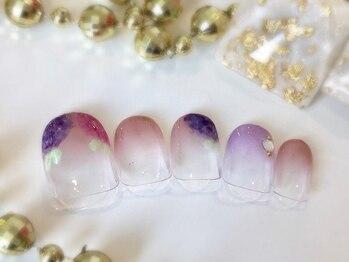 ネイルアンドアイラッシュサロン ブレス 長町南駅店(BLESS)/上品な紫陽花アート