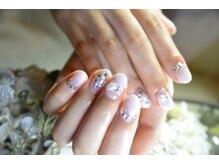 ネイルサロンブラン(nail salon BLANC)/パールビジューブライダルネイル