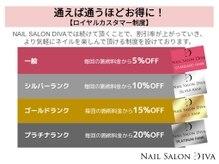 ディーバ 天王寺店(Diva Nail Salon)の雰囲気(通えば通うほどお得になるロイヤルカスタマー制度)