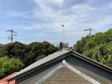 葉山SUNの雰囲気(窓から見えるのは緑と青空、薪ストーブの煙突。鳥の囀りがBGM)