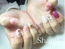 シャンティ ネイルサロン(Shanti nail salon)/ワイヤー手描きフラワー春ネイル