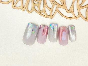 アイルテリア(Eyelash&Nail Eyelteria)/1カラー+ホイル+ミラー+天然石