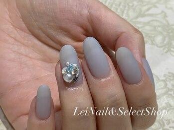 レイ ネイルアンドセレクトショップ(Lei Nail&Selectshop)/《グレーマット×ビジュー》