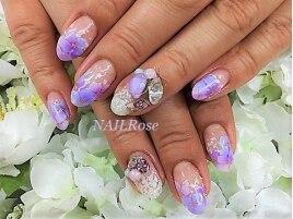 紫陽花エアブラシビジュー盛り
