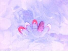 大人ピンクのフレンチネイル
