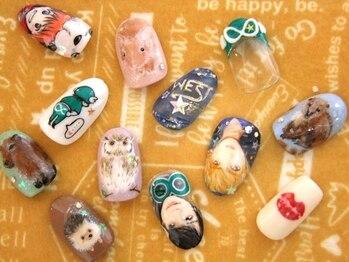 ネイルビー(Nail Bee)の写真/痛ネイルは当店へ★イベント・フェス・キャラ・人物・ペット・食べ物etc「好き」を指先に手描きします♪