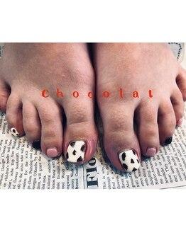 ショコラ(chocolat)/フットアニマルマットネイル☆