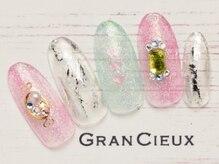 グランシュクアトロ 千葉店(GranCieux × QUATRO)/【成人式向け】クリア宝石ネイル