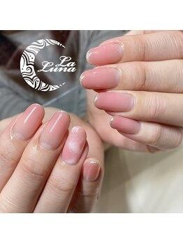 ラルーナ(La Luna)の写真/大人女子の上品ネイル☆≪地爪を削らない一層残しのフィルイン&ワンカラー¥8800≫地爪に優しく&長持ち♪