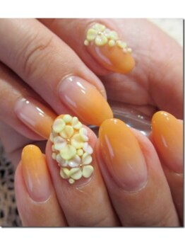 スワイスワイ Nail Salon&School Suay Suay/オレンジィ~3Dの花