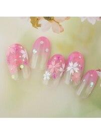 手描き桜×押し花ネイル