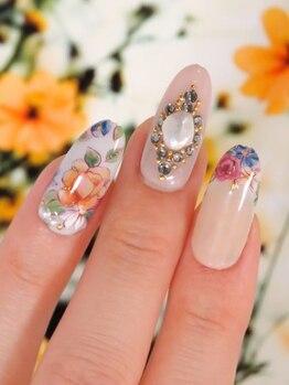 レトロ可愛い花柄ネイル♪