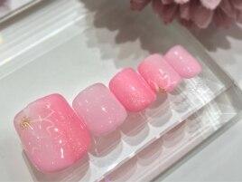春フット 縦グラ 桜ピンク