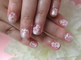 桜手書きフラワー人気着物結婚式
