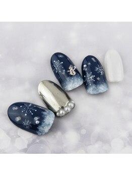雪の結晶×ミラーネイル