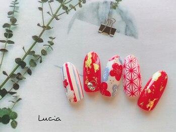 ルチア(Lucia)/お正月モダン赤ネイル♪