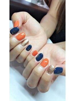 ネイルサロン ベイビーズ(Nail Salon Beybe's)/・*秋冬♪オレンジネイビー*・
