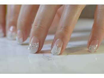 ネイルサロンブラン(nail salon BLANC)/大人なフラワーブライダルネイル