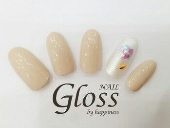 グロスアンドロキエバイハピネス 心斎橋(Gloss & ROCHIE by HAPPINESS)/シンプルフラワーネイル