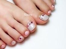 シュクル(Sucre)/ピンクとグレーでハートネイル☆