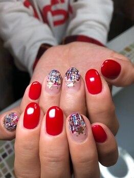 ポミグラニットフィンガーズ(Pomegranate Fingers)/クリスマスツイードネイル