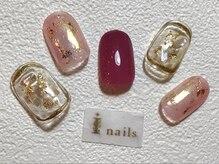 アイネイルズ 梅田店(I nails)/ピンクゴールド箔ネイル
