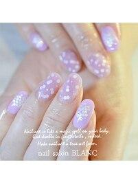 クリアとマットの紫陽花ネイル