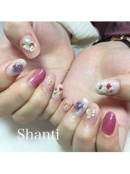 シャンティ ネイルサロン(Shanti nail salon)/春ネイル♪キラキラ押し花ネイル