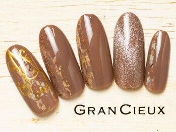 グランシュクアトロ 千葉店(GranCieux × QUATRO)/大人カジュアルなブラウンネイル