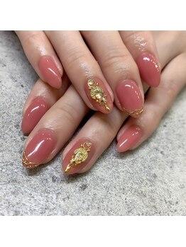 ピンク×ゴールドネイル