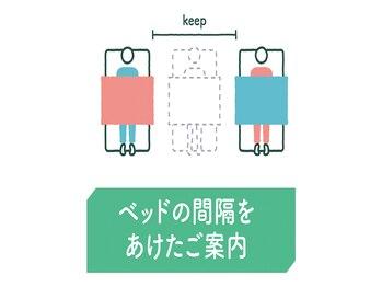リラク イオンモール 木更津店(Re.Ra.Ku)/ベッドの間隔をあけたご案内