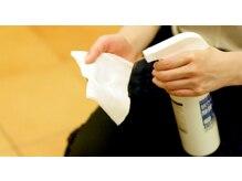 高い除菌力のある消毒液を使用中