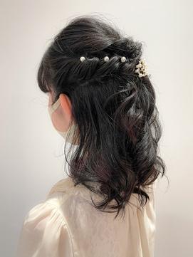 後れ毛くるりんぱ編み込み結婚式二次会ヘアアレンジアップ☆