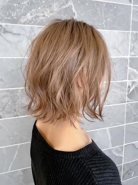 【AUBE HAIR】切りっぱなしボブ_チェリーピンクベージュ