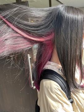 函館美容室ノハラのピンクインナーカラー