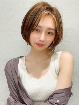 韓国ヘア/大人ボブ/イメチェン/イヤリングカラー/春カラー