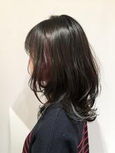 【インナーカラー】ブルーグレー×ビビットピンク.58