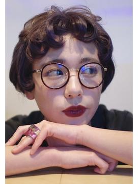[ethica_南船場] ダークパープルグレー × ショート + 丸メガネ