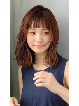 小顔ミディアムレイヤー/ハイライトインナーカラー