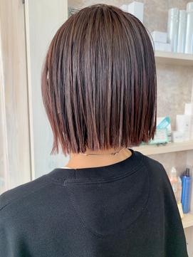 福山市美容室Caary人気 ぱっつんボブ×ピンクバイオレットカラー