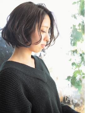 黒髪/ダークアッシュ/くせ毛風/ワンレンボブ/たまプラーザz2