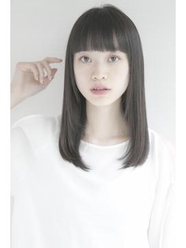 ワイドでぱっつん前髪×うるつやストレートセミロング【銀座】