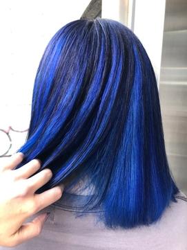 ネイビー×ブルー インナーカラースタイル!
