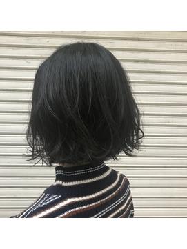 【F.】黒髪ボブ×ゆるふわパーマ