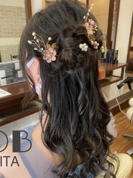〈NOB杉田店〉ハーフアップ編み込みヘアセット結婚式フラワー