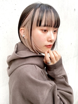 黒髪 インナーカラー ミニボブ 切りっぱなしボブ【岡田 陸】