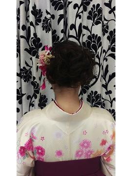 袴着付けサイドアップ 卒業式 成人式 和装 盛り髪 水戸 大工町